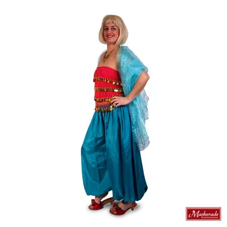 Arabisch kostuum blauwroze