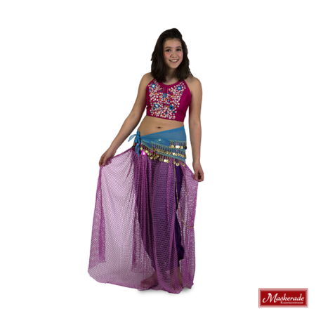Arabisch kostuum roze paars