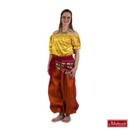 Arabisch kostuum oranje geel