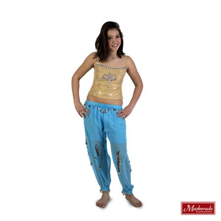 Arabisch kostuum van blauwe broek en beige top