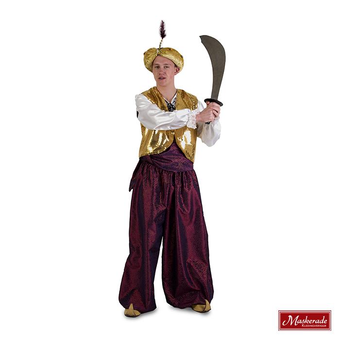 Arabisch kostuum Paarse broek met gouden gilet
