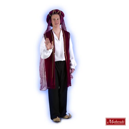 Arabisch kostuum rood gilet witte blouse en zwarte lange broek