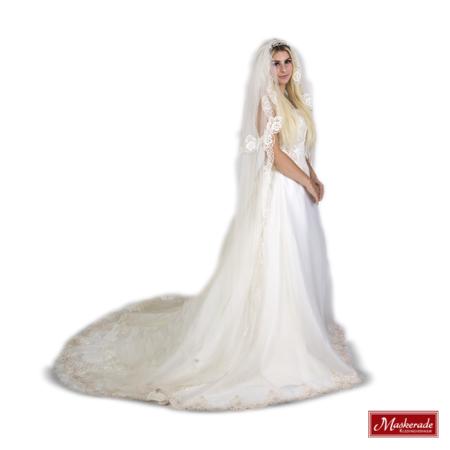Mooie witte bruidsjurk met kanten sleep