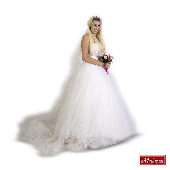 Bruidsjurken Verhuur.Mooie Witte Bruidsjurk Van Tule
