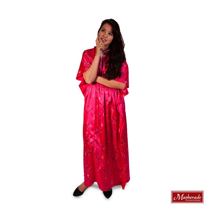Chinese lange roze jurk
