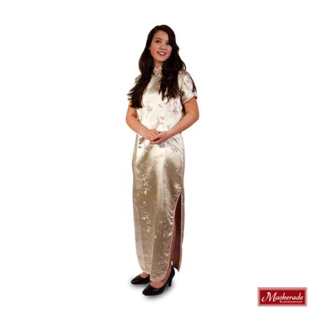 Chinese lange gouden jurk