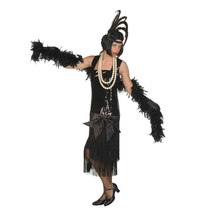 Charleston jurk zwart met pailletten