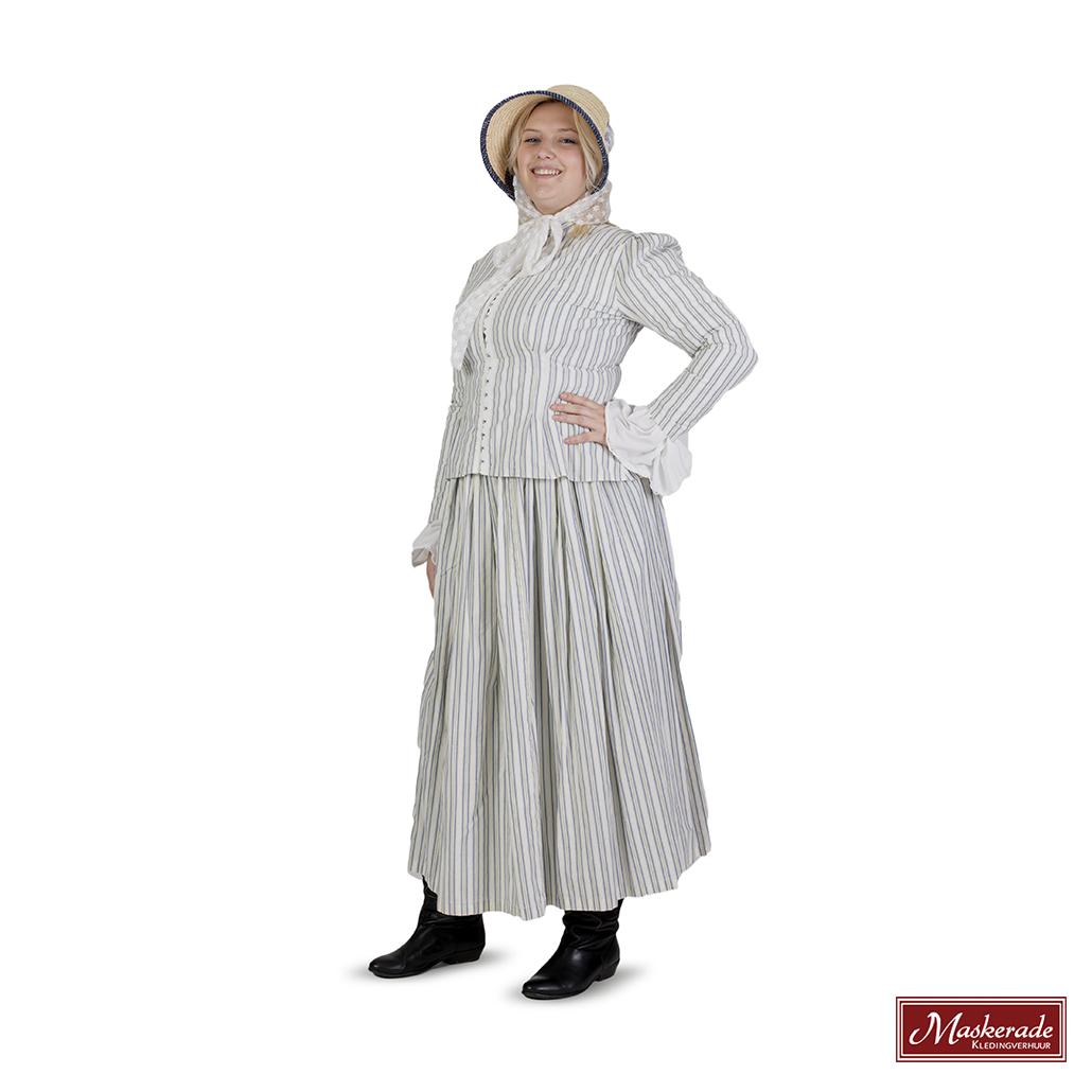 81f0a9f32e9b4c Charles Dickens  Wit met blauw gestreepte rok en bijpassend vest en witte  blouse