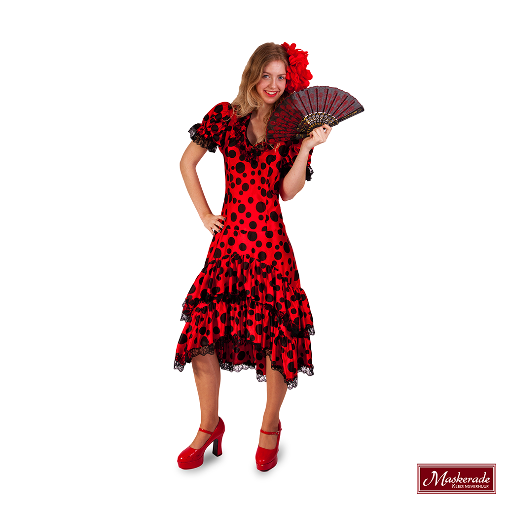 Zwart Rode Jurk.Spaanse Zwart Rode Jurk Met Stippen Huren Bij Maskerade Kledingverhuur