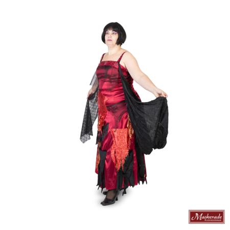 Satijnen bordeaurode jurk