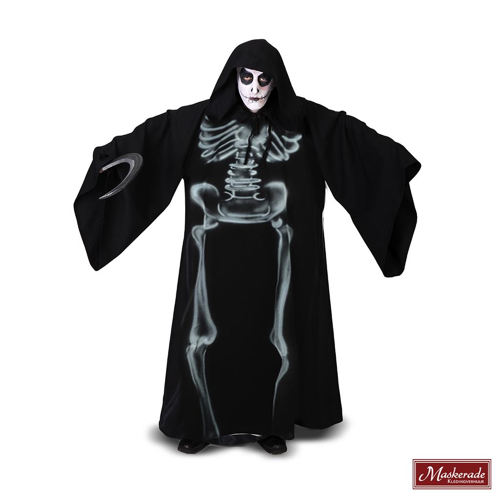5a70ba8f63979f Horror gewaad met print skelet huren bij Maskerade Kledingverhuur