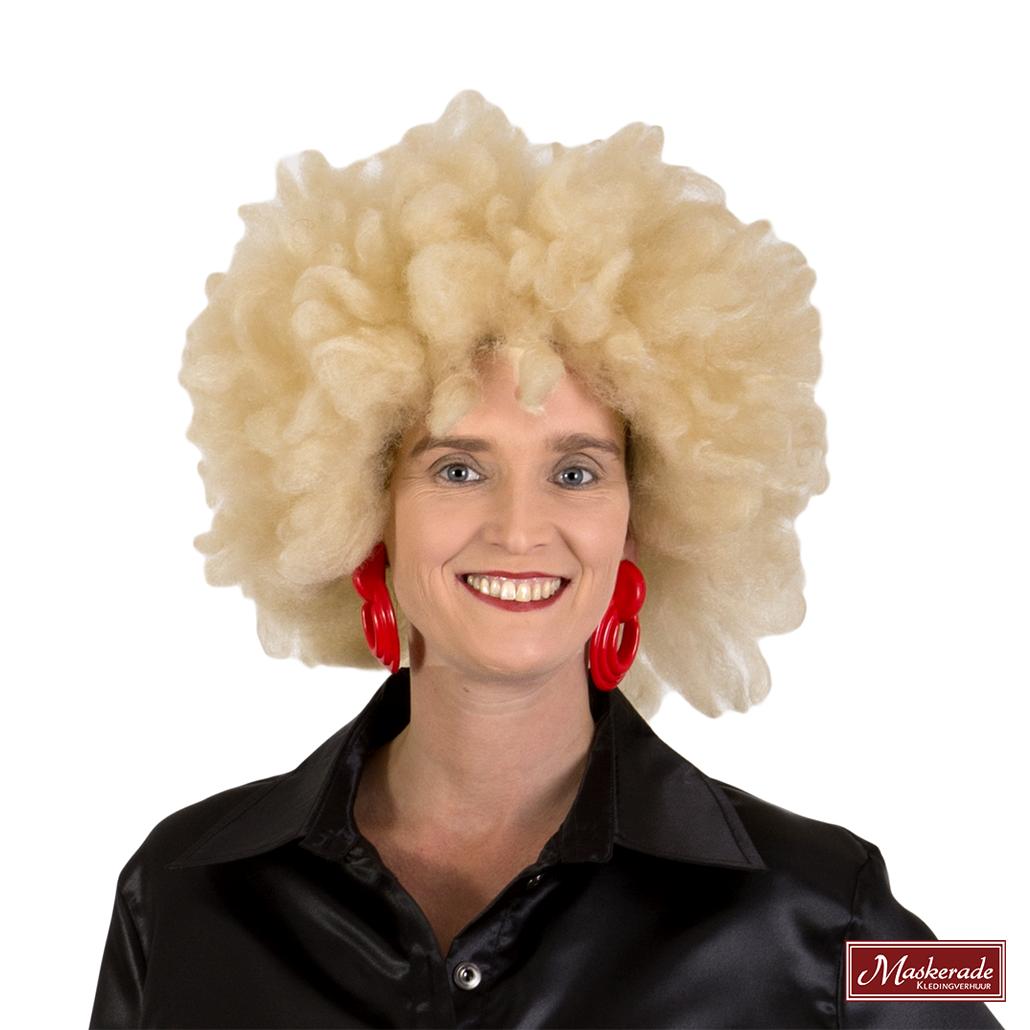 1f5ecf00aac2ff Blonde afro pruik huren bij Maskerade Kledingverhuur
