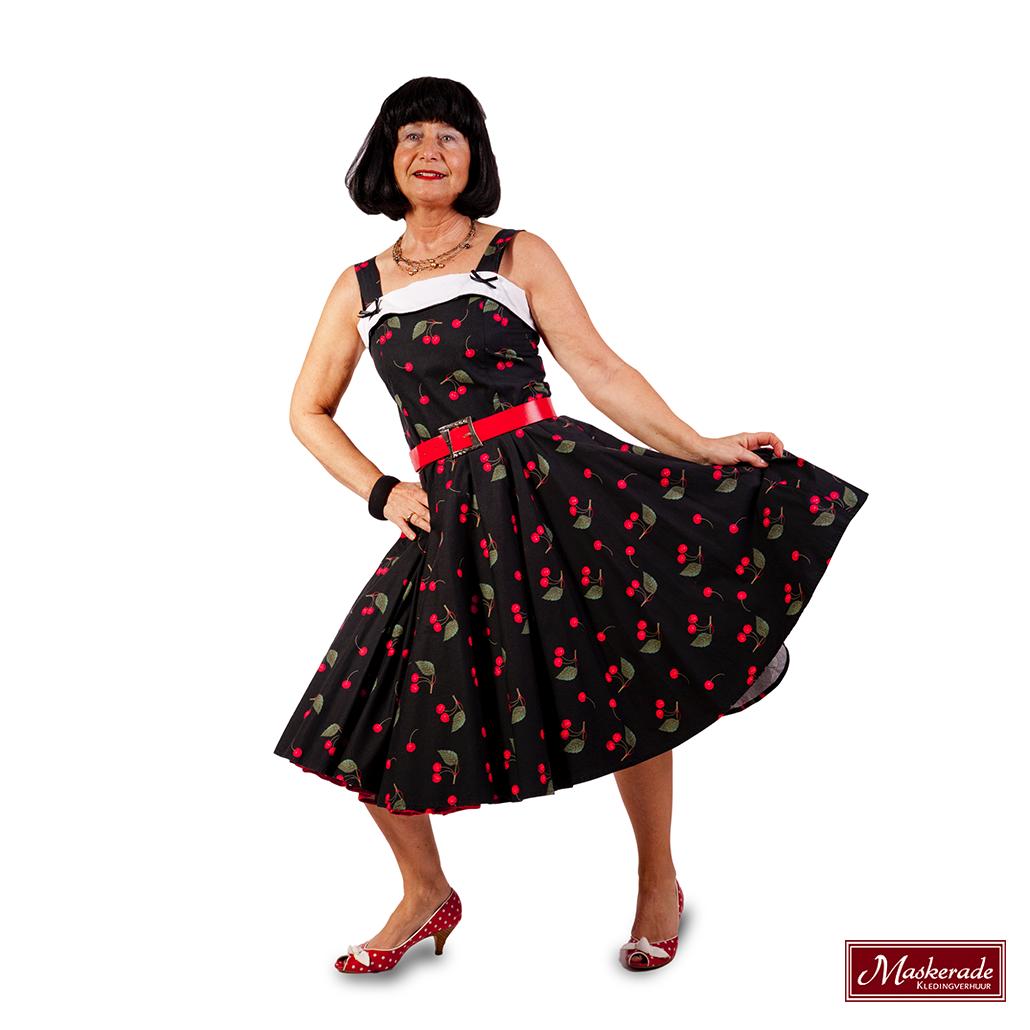 035b33eb8d3261 Rock n Roll jurk met kersenprint huren bij Maskerade Kledingverhuur