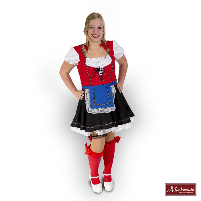 Oktoberfest dirndl rood zwart: