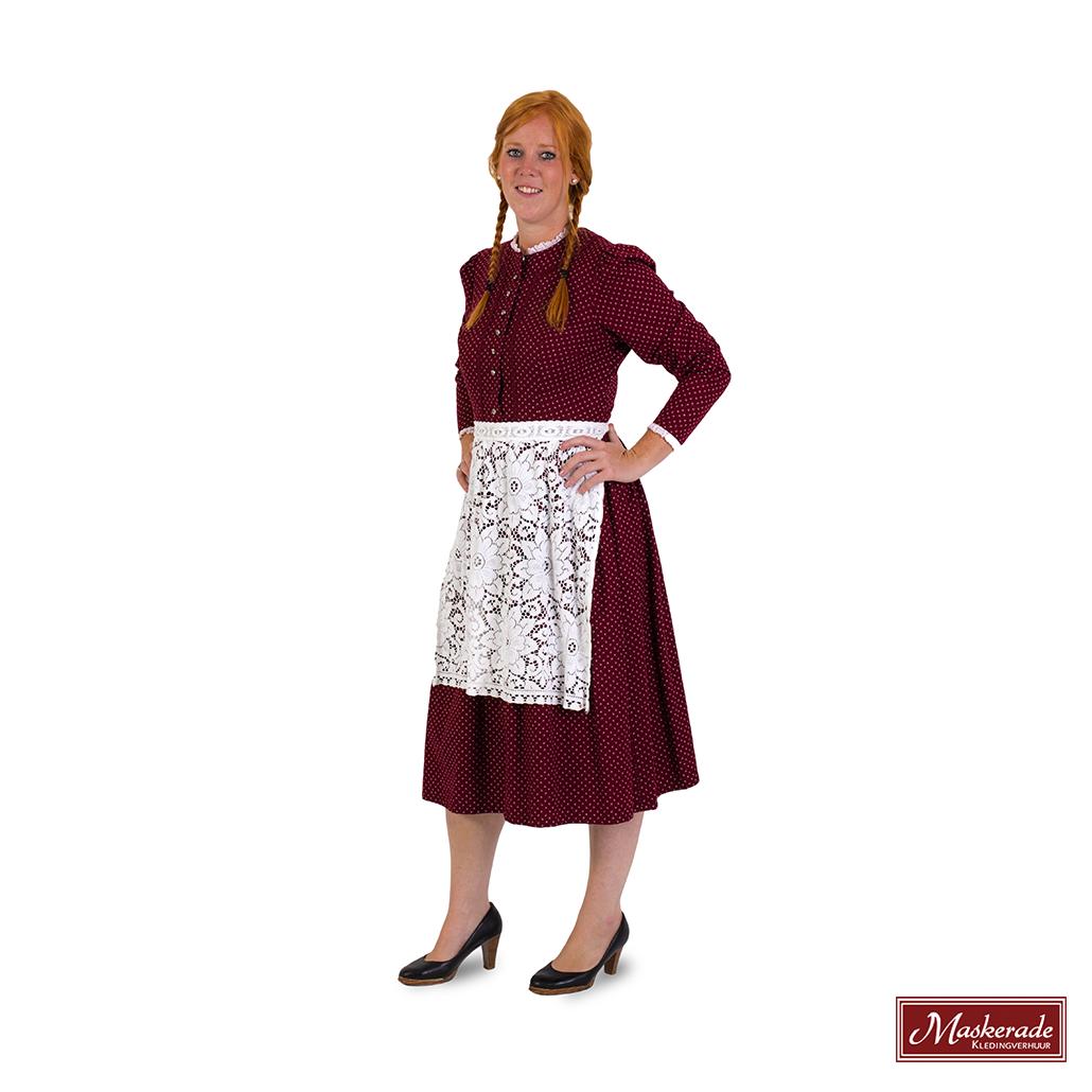 8ae85a66423db3 Bordeauxrode jurk met witte print en lange mouwen