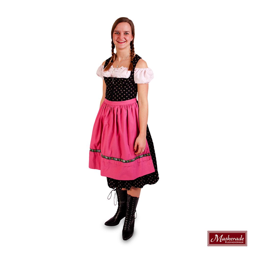 a597c0535b19bb Zwarte Tiroler jurk roze schort huren bij Maskerade Kledingverhuur