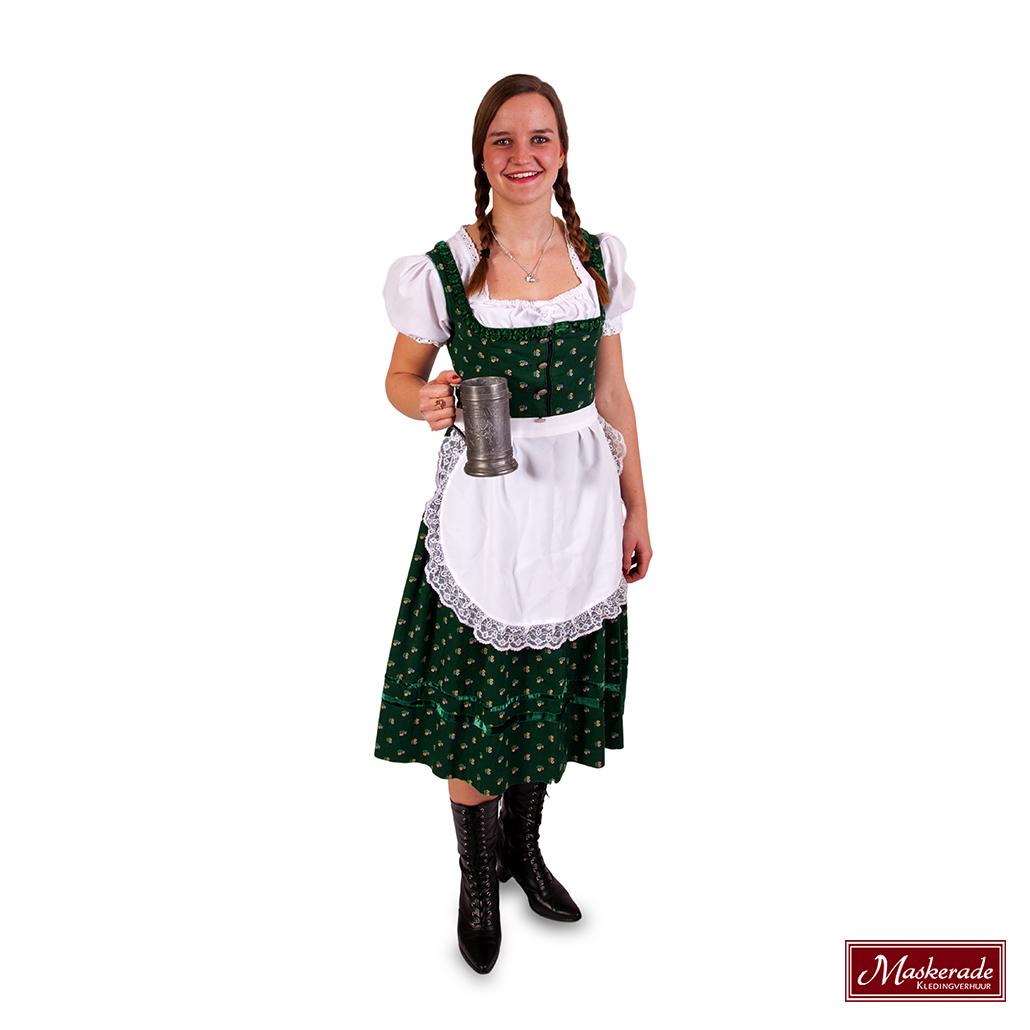 6f5929fa23760d Groene Tiroler jurk wit schort huren bij Maskerade Kledingverhuur