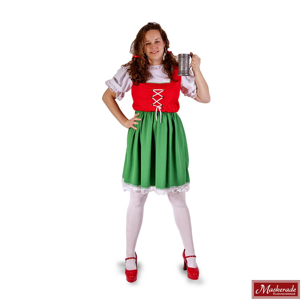 f5dcf5a44fa5dd Oktoberfest dirndl in rood en groen huren bij Maskerade Kledingverhuur