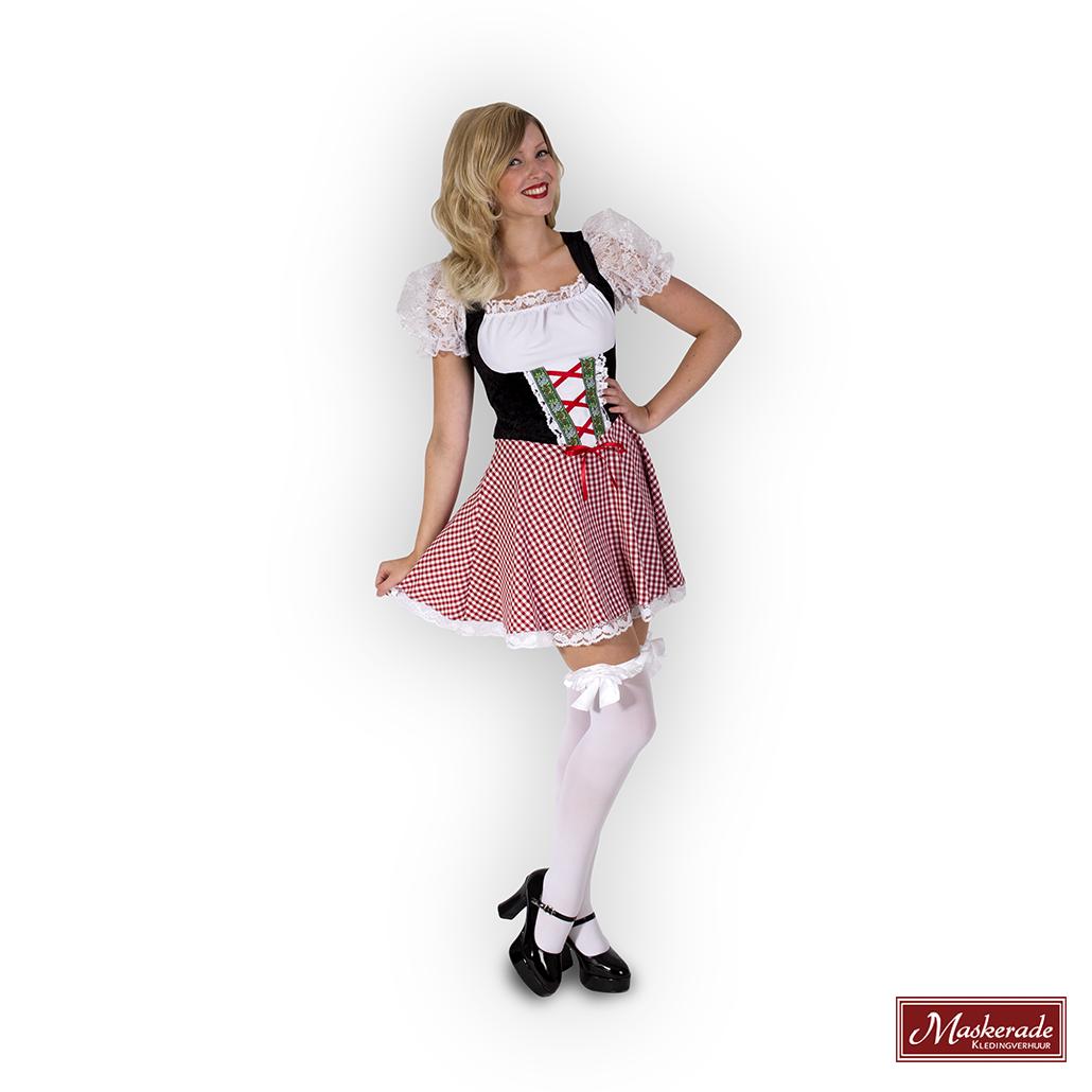 cdf01043676719 Zwarte oktoberfest jurk met rood geruit rokje huren bij Maskerade ...