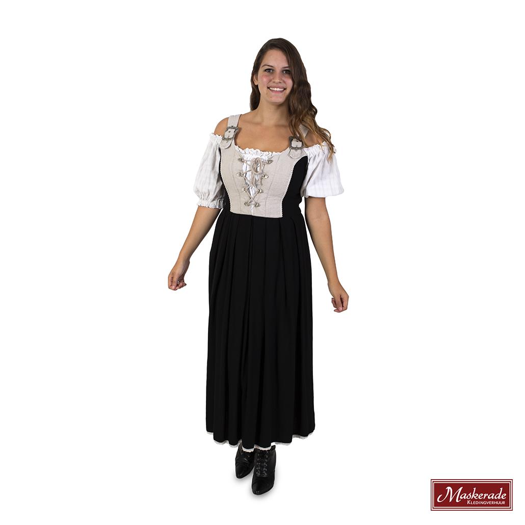 1a5928ecc706aa Oktoberfest Verhuur  Zwarte rok met grijze top en witte mouwen huren ...