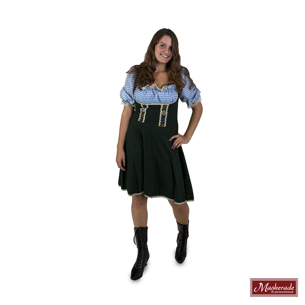 a1df580b6d7838 Donkergroene Oktoberfest jurk met blauw geruiten blouse huren bij ...