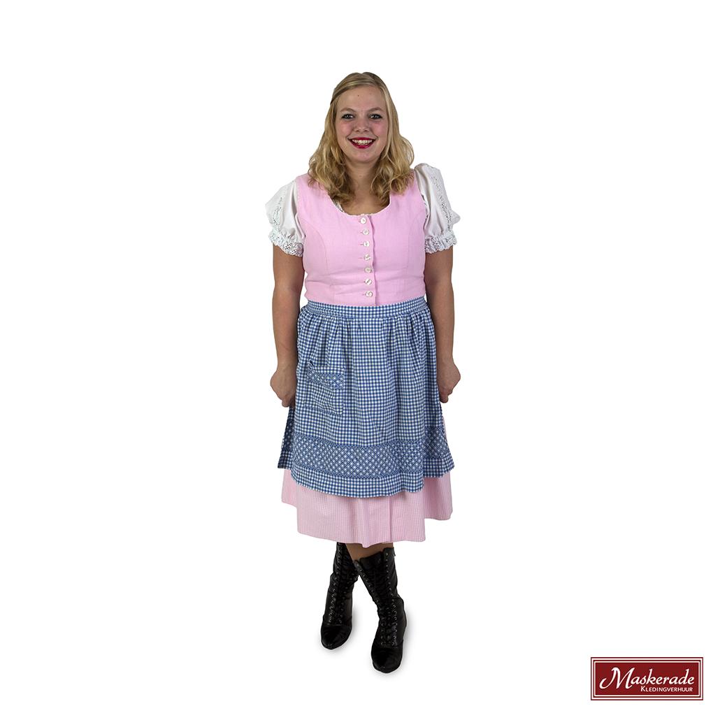 f879c5aba71193 Oktoberfest Verhuur  Lichtroze jurk met blauw schort huren bij ...