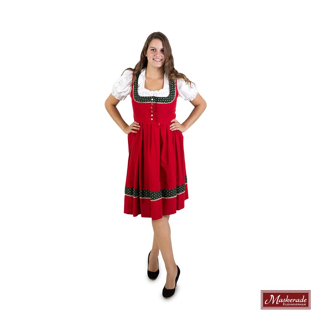 1913b200e003fe Rode Tiroler jurk met groene randen en witte blouse huren bij ...