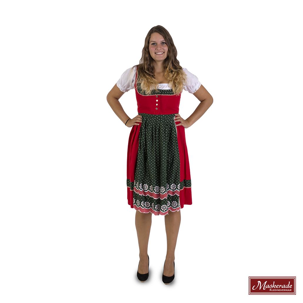 db7a6b7669ba4e Oktoberfest Verhuur  Rode jurk met groene randen en witte blouse ...