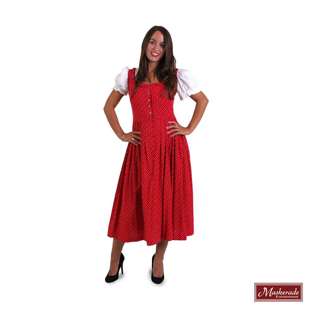 909fe89a1d7399 Rode jurk tot over de knie met bloemenprint huren bij Maskerade ...