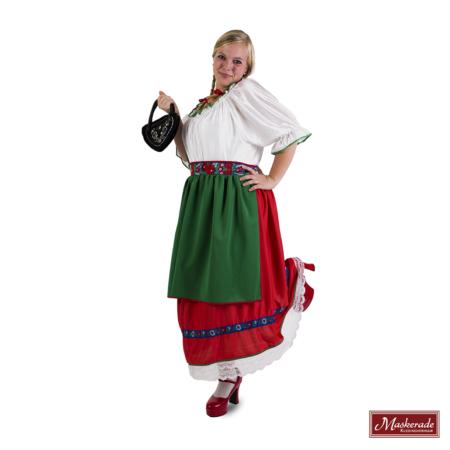 5a9cfdace21bc7 Lange Oktoberfest dirndl met witte bovenkant en rode rok