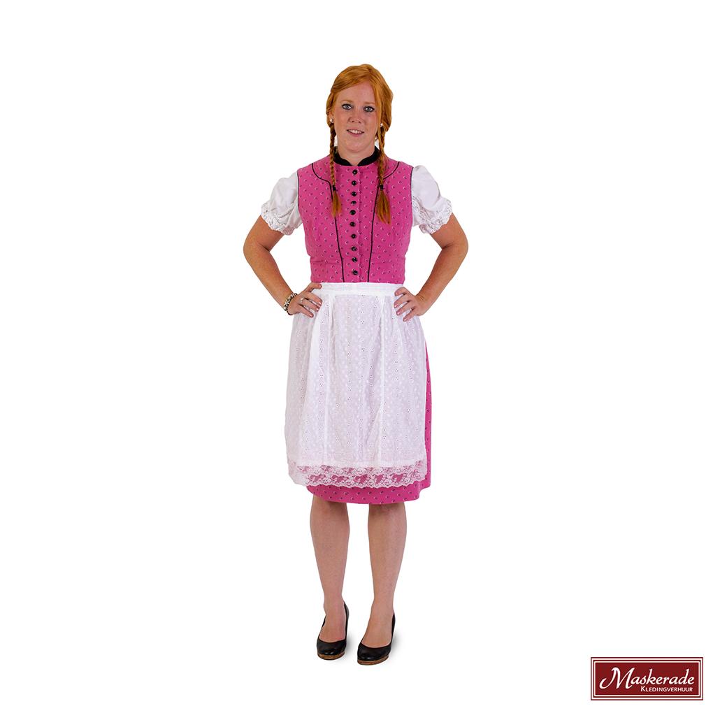 f95d775094fa54 Roze Tiroler jurk met print en gebloemd schort huren bij Maskerade ...