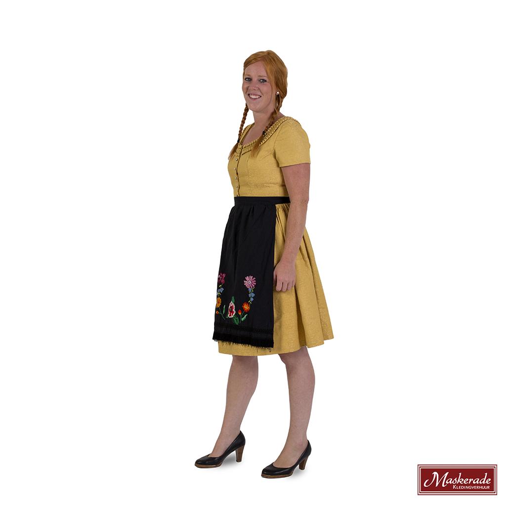 6d315c811c0002 Gele Tiroler jurk met een zwart schort huren bij Maskerade ...