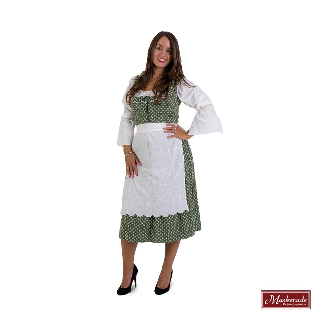 Groene Tiroler Jurk Met Witte Print Witte Blouse En Wit Schort