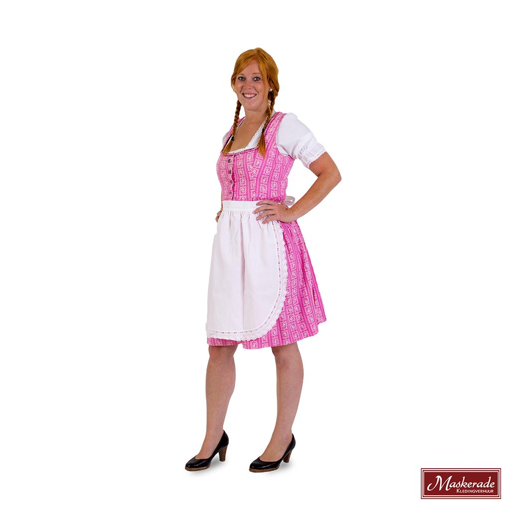 a8ee26a5852a42 Roze Tiroler jurk met print huren bij Maskerade Kledingverhuur