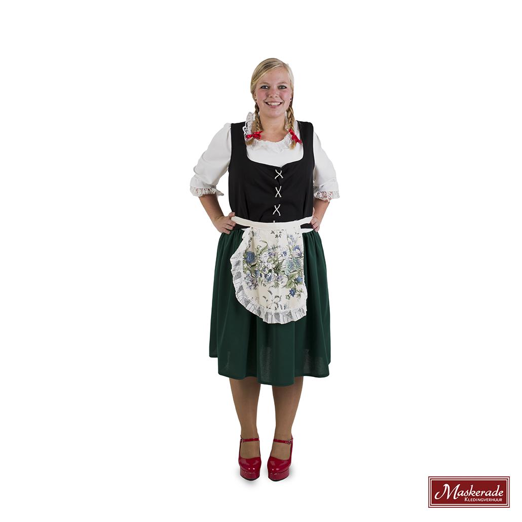 68f552f47ce8e8 Groene Tiroler jurk met witte bovenkant huren bij Maskerade ...