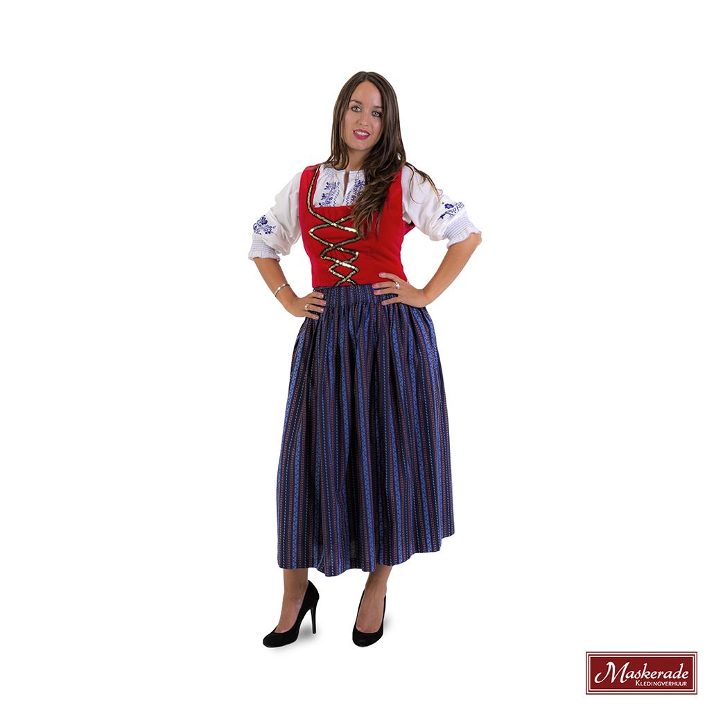 e7ea7f45b7ef30 Rode Tiroler jurk met blauw gestreepte rok huren bij Maskerade ...