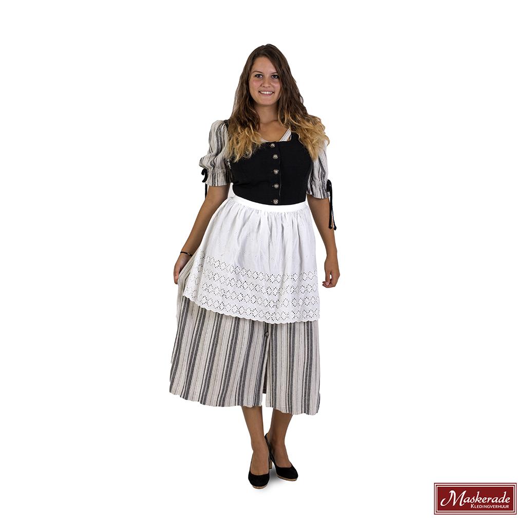 c0516c9ca11589 Grijze Tiroler jurk met strepen en zwarte bovenkant huren bij ...