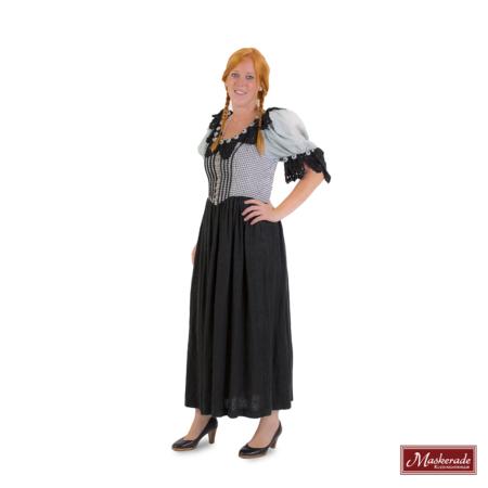 43d6a84ecfe22f Grijze Tiroler jurk met lijfje met zwarte borduursels en zwarte rok