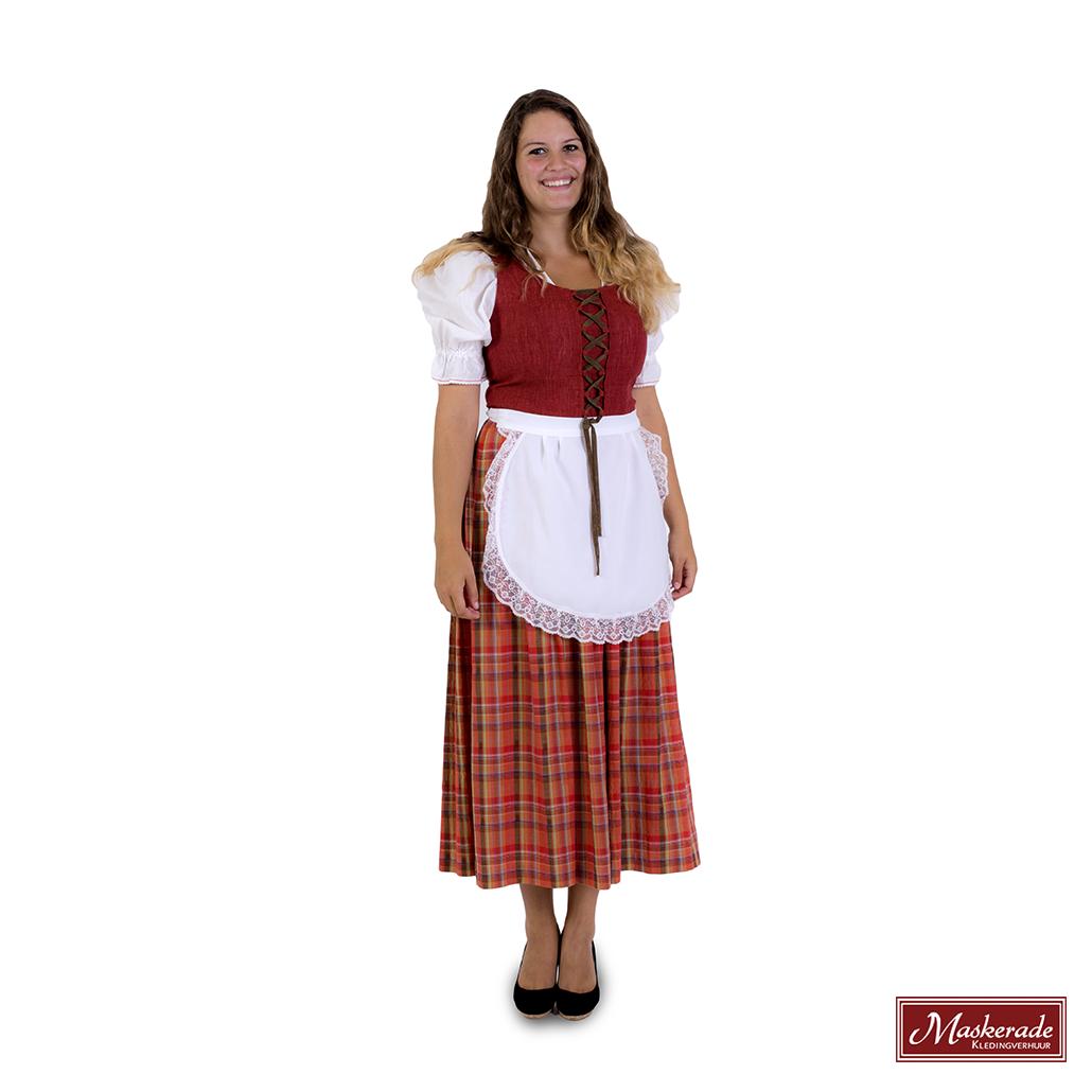 Oranje Rode Jurk.Oranje Tiroler Jurk Met Rode Bovenkant En Witte Blouse Huren Bij