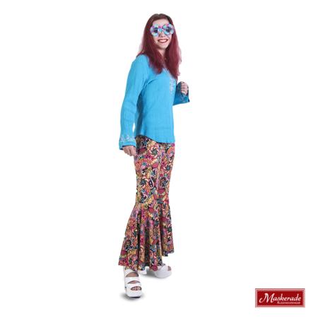 Blauw hippie shirt met roze gebloemde broek