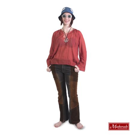 Bordeaux hippie blouse met bruine broek