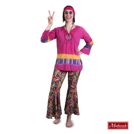 Roze hippie shirt met gebloemde broek