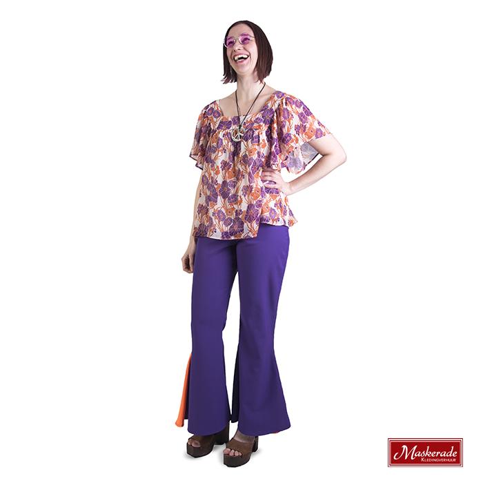 Gebloemd hippie shirt met paarse broek