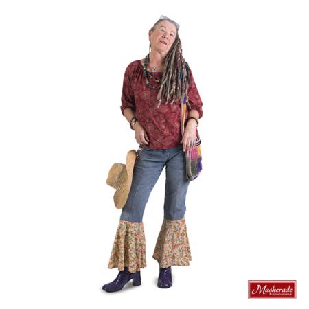 Bordeaux gebloemd hippie shirt met broek