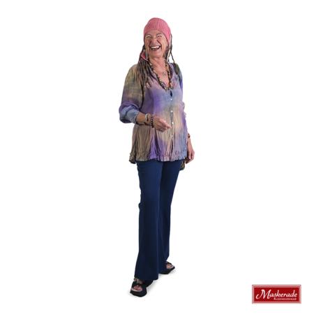 Lila hippie blouse met blauwe broek
