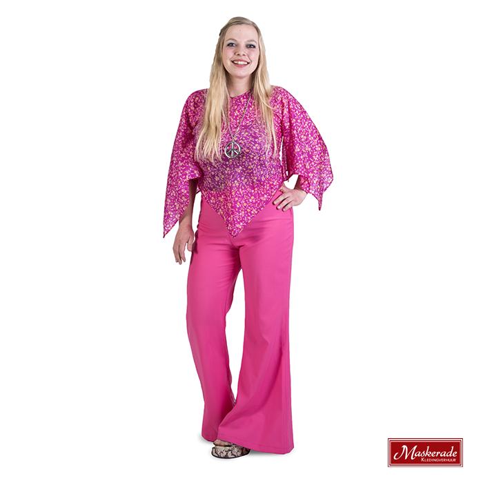 Roze gebloemde blouse met roze broek