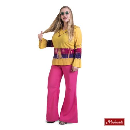 Gele hippie blouse met roze broek