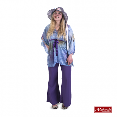 Lila hippie blouse met paarse broek