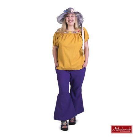 Oranje hippie blouse met paarse broek