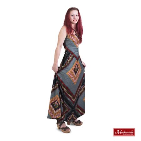 Grijze hippie jurk met rode print